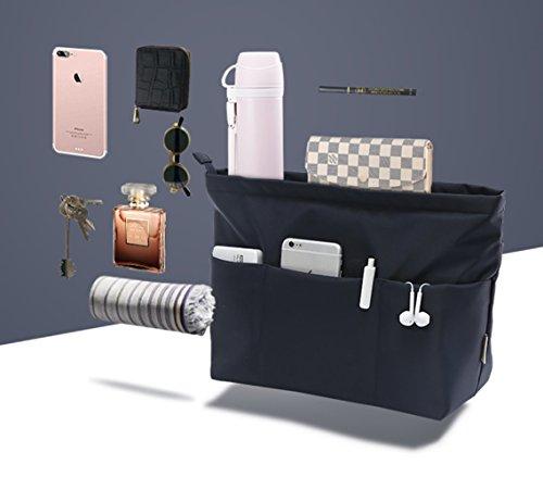 Insert Bag Organizer, Bag in Bag for Handbag Purse Organizer (Medium, Black) by favour (Image #2)