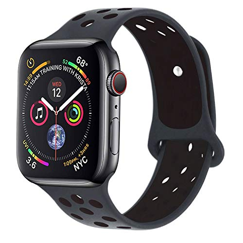 RUOQINI Compatible for Apple Watch Band 42MM 44MM, Dual-Color Soft Silicone Sport Replacement Band Compatible for Apple Watch Series 4 (M/L Size in Anthracite/Black Color)