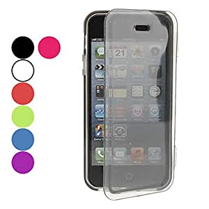 Transparent Solid Color Pattern Protective Soft TPU Full Body Case for iPhone 5/5S (Assorted Colors) --- COLOR:Purple