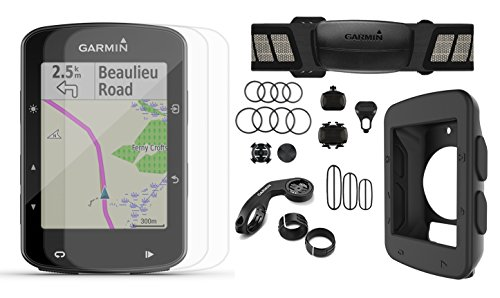 Garmin Edge 520 Plus (2018 Version) Cycle Bundle | w/PlayBetter Silicone Case & HD Glass Screen Protector | New Maps/Navigation, Bike Mounts | GPS Bike Computer (Black Case, Speed/Cadence Sensors)