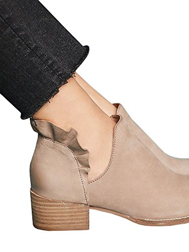 1 taupe Western Pointed Low Chunky on Ruffled Slip Womens Booties Shoes Out Cut Ankle Heel Toe FaZn76
