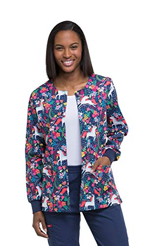 e75bfbf7035 Dickies EDS Signature Women's Snap Front Warm-Up Floral Print Scrub Jacket  Medium Print by