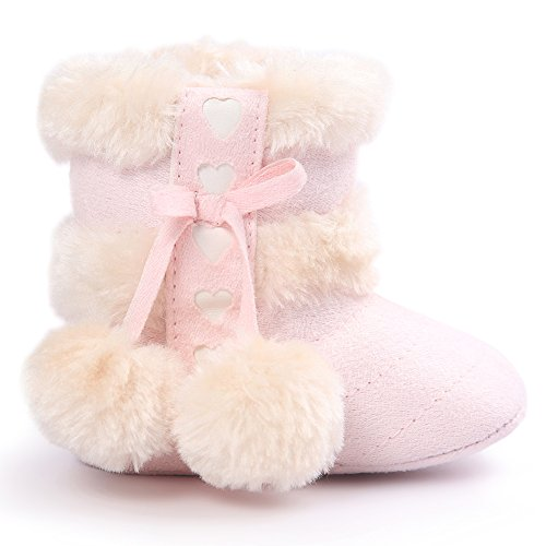 KAKAKI Inifinity Warm Baby Prewalker Anti-Slip Sole Toddler Winter Boots Light Pink,11