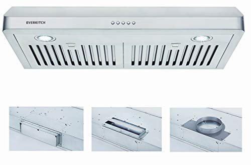 30 Inch Under Cabinet Range Hood Kitchen Vent Hood,Built in Range Hood for Ducted in Stainless Steel, 400 CFM with…