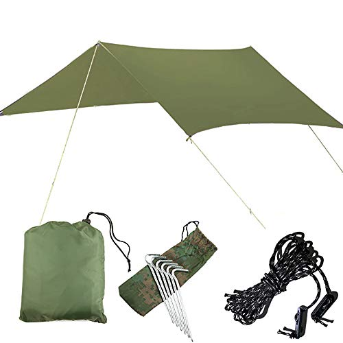 KORAMAN 10X10 Camp Tarp, Hammock Rain Fly,Waterproof Picnic Mat, Lightweight and Compact Ripstop Nylon Rain Cover,6 Stakes, 6 Ropes & 6 Slip Buckle Included Green