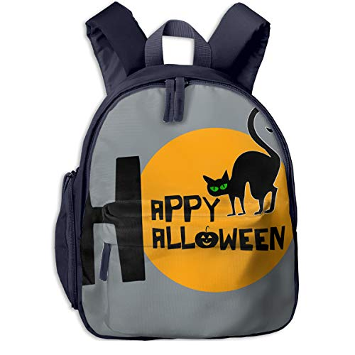 Happy Halloween With Black Cat Double Zipper Waterproof Children Schoolbag With Front Pockets For Youth Boys Girls