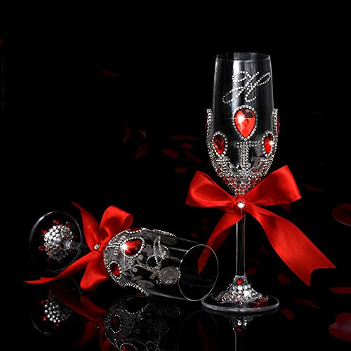 Aksb- Wedding Champagne Glasses Wine Glass Cocktail Glasses Creative Goblet/Heart-Shaped Colored Enamel Crystal Wedding Goblet Set Inlaid with Diamonds 2-Piece