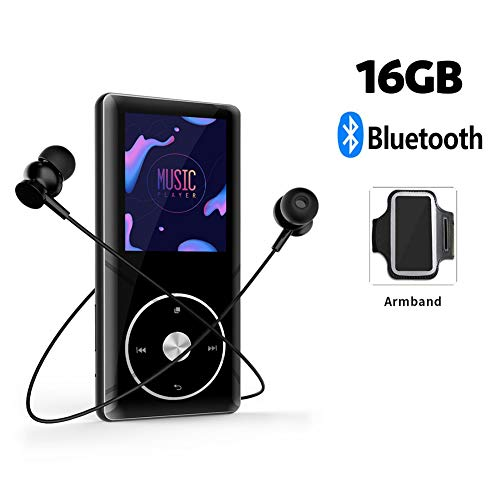 - LHYP MP3 Player with Bluetooth 4.0, 16GB Portable Lossless Music Player with FM Radio Voice Record, Audio Player Support Up to 128GB with Earphones & Armband