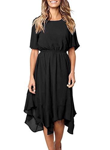 Women's Summer Casual Loose T Shirt Short Sleeve Midi Chiffon Dress Elastic Waist Swing Dresses with Irregular Hem (Small, Black)