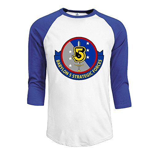 CALZ Men's Babylon 5 1994 Logo Three-Quarter Sleeve Cotton T Shirt L RoyalBlue