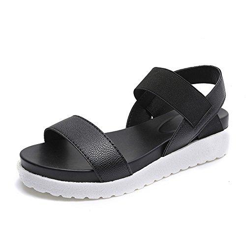 4cm 35 Plata Negro Cuero 40 Mujer Blanco Zapatillas Verano Deportivas Sandalias Plataforma vfxnqA
