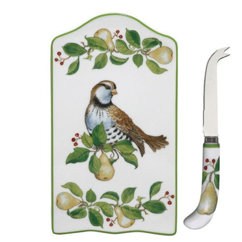 Partridge In A Pear Tree Cheese Tray & Knife