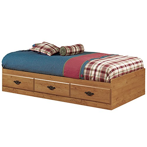 3 Piece Oak Side Table (Prairie Collection Twin Bed with Storage - Platform Bed with 3 Drawers - Country Pine Finish by South Shore)