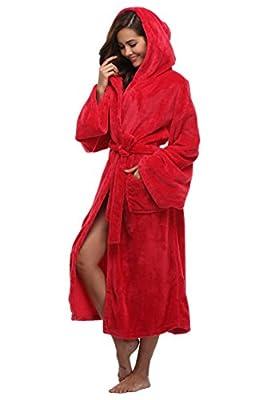 Women's Plush Robe Hooded Velvet Bathrobe Long Spa Robe Warm for Winter