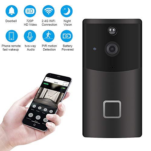 ZhiLiao Smart Home WiFi Video Doorbell 720P HD Security Camera with 166-Degree Wide Angle Lens Two-Way Audio PIR Motion Detection Night Vision Wireless doorbell