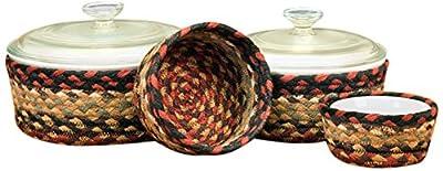Earth Rugs C-019 Casserole Baskets, Burgundy/Mustard, Set of 4