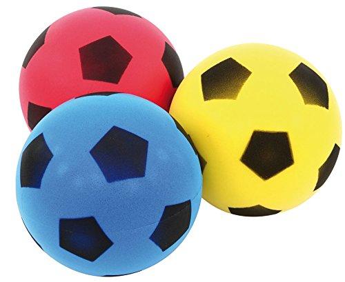 Softbälle-Set, 3 Stück, Ø 20 cm, Kinder-Softball, Soft-Bälle, Kinder-Ball aus Schaumstoff, Schaumstoffball, besonders weich und griffig, gelb, blau, rot, im Netz, unbeschichtet