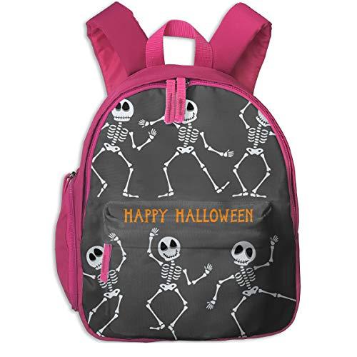 Happy Halloween Skeleton Double Zipper Waterproof Children Schoolbag With Front Pockets For Kids Boys Girls ()
