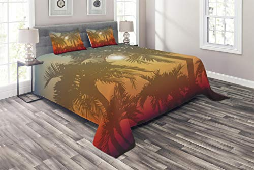 Lunarable Hawaiian Coverlet Set Queen Size, Los Angeles Miami Tropical Places Icon Palm Trees in Abstract Style Art Print, 3 Piece Decorative Quilted Bedspread Set with 2 Pillow Shams, Grey and Orange