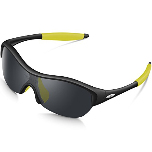 Flexible Girl - Torege Tr90 Flexible Kids Sports Sunglasses Polarized Glasses for Junior Boys Girls Age 3-15 Trk001 (Black&Yellow Tips)