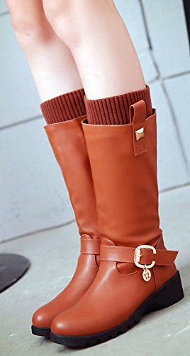 Pendant Calf Wedge Womens With Mid Mid Boots Warm IDIFU Studded Yellow Heel xAwvdq