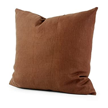 Lavievert Decorative Cotton Square Toss Pillowcase Cushion Cover Handmade Deep Solid Brown Throw Pillow Case with Hidden Zipper Closure 18 X 18 Inches