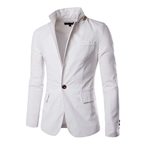 Pishon Men's Linen Blazer Lightweight Casual Solid One Button Slim Fit Sport Coat, White, Tag Size XXL=US Size M (Suits And Sportcoats)