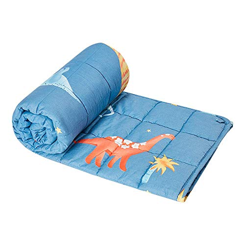 ROSMARUS-Kids-Weighted-Blanket-Premium-Soft-Cotton-Toddler-Child-Heavy-Toddler-Quilted-Breathable-with-Glass-Beads-Dinosaur36x48-in5-lbs