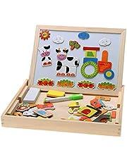 Magnetic Shapes Box with Whiteboard & Blackboard Chalkboard skills Development, intelligence, educational, IQ, STEM & Montessori wooden toys for Babies, Toddlers, kids boys & girls