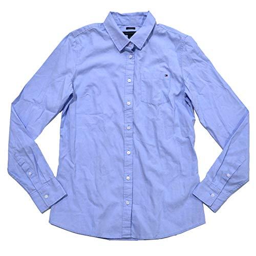 Tommy Hilfiger Button Shirt - Tommy Hilfiger Womens Long Sleeve Poplin Shirt (Medium, Light Blue)