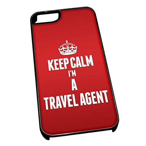 Nero cover per iPhone 5/5S 2698Red Keep Calm I m A Travel Agent