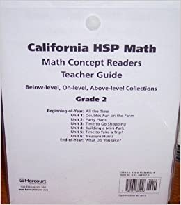 Book Harcourt School Publishers Math California: Mth Cncpt Rdr Tg Coll(1 Ea)G2