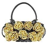 Fontanelli Black & Gold Handmade Rose Bouquet Italian Leather Handbag