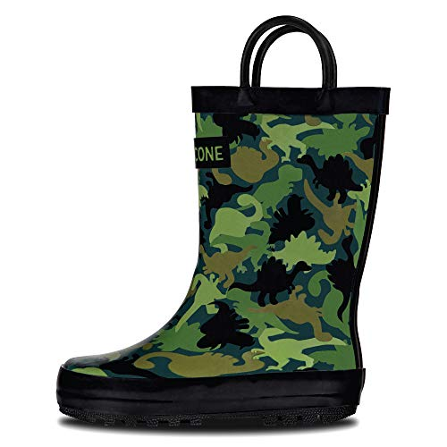 LONECONE Rain Boots with Easy-On Handles in Fun Patterns for Toddlers and Kids, Camo-Saurus, 4 Big Kid