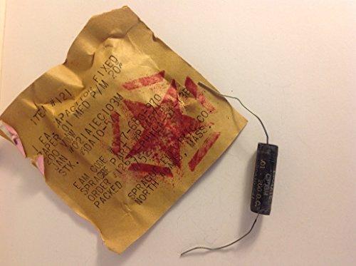 (1 NOS .01uf 200v Sprague 1952 Vintage Paper In Oil Capacitor Guitar Tone PIO )