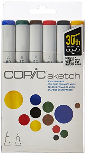 Copic Markers 6-Piece Sketch Set, Bold Primaries (SKST6-BOLD)
