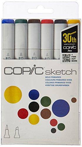 Copic Marker 6-Piece Sketch Set, Bold Primaries (SKST6-BOLD)