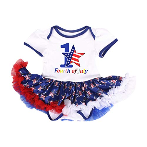 WUAI Newborn Baby Girls Dress,4th of July Stars