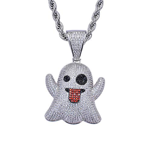 LC8 Jewelry Men CZ Cluster Lab Diamond Emoji Ghost Pendant Hip Hop Iced Out Crystal Necklace 18K Gold Plated with 24