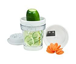 """Paderno World Cuisine Turning SlicerA """"portable"""" vegetable slicer: Compact, easy-to-use and space-saving. The two stainless steel blades cut noodles or thin spirals, while thetop cover has 12 spikes to push the food to be cut and thus keeps one's han..."""