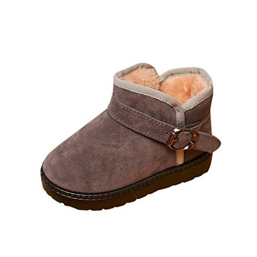 AgrinTol Kids Autumn Winter Warm Fashion Children Martin Girls Boys Casual Snow Boots Grey