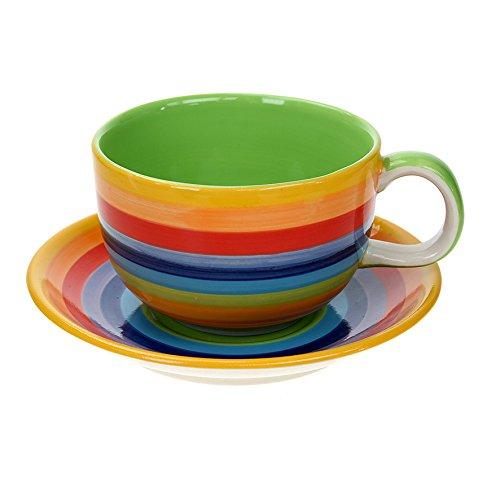 Windhorse Regenbogen gestreift kaffee Tasse & Untertasse –  Extra Large (One Pint)