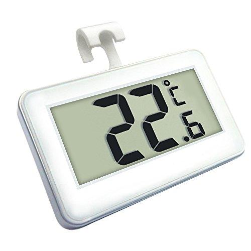 JESWELL Mini Digitales Kühl-Gefrierschrank-Thermometer Raumthermometer mit Magnet-Haken Hängen Ständer / Frostalarm