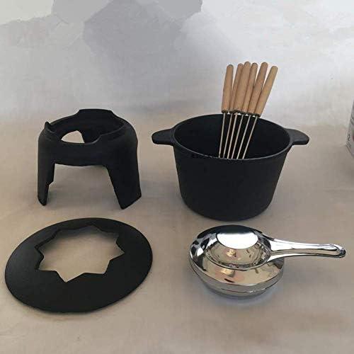 LEILEI Casserole en Fonte Noire,Ensemble à Fondue au Fromage avec 6 fourchettes,Pot Chaud à l'alcool,idéal pour la fête