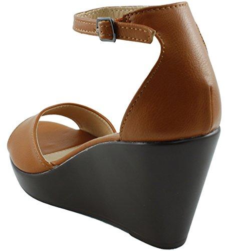 Cambridge Select Dames Open Teen Enkelband Platform Wig Sandaal Bruin