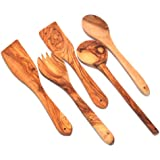 """Handcrafted Olive Wood Set of 5 Spatulas / Spoons (length 12"""" each) - Asfour Outlet Trademark"""