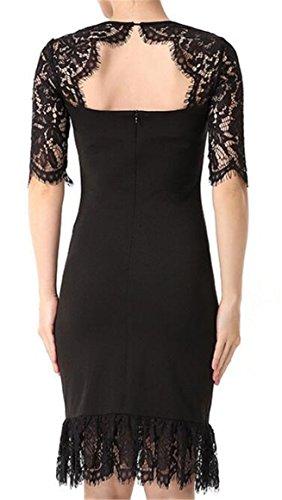 Half Sleeve Black Bodycon Crochet Neck Jaycargogo Women Choker Elegant Lace Dress C114qw