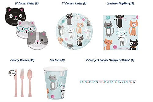 Purr-fect Deluxe Birthday Party Bundle (Serves 8 inc Banner) - 87 pcs: 8 Lunch Plates AND 8 Dessert Plates, 16 Large Lunch Napkins, 8-9oz Cups, Banner and Cutlery in pink (Athena Fork)