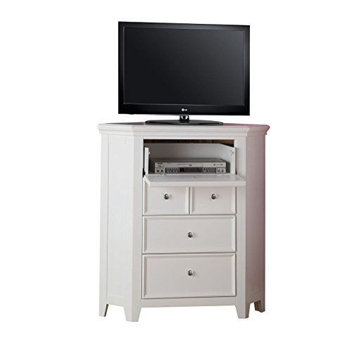 "Major-Q 44"" H Contemporary Style Casual White Finish 3-Drawer Corner TV Console with Media Top Compartment, 9030603"
