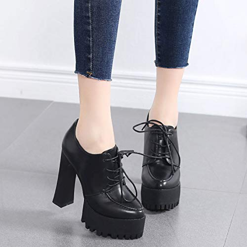 laces Small shoes shoes deep heeled sole black shoes fresh waterproof fashionable seven heels 12cm high women's Thirty rough platform LBTSQ qdAnFOq